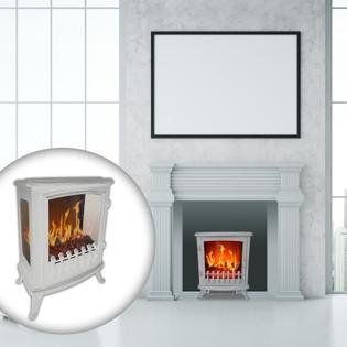 Cheminée électrique design CHEMIN'ARTE Fire Glass blanche